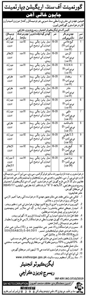 Irrigation Department Jobs 2019 Latest