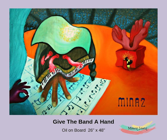 Give the Band a Hand Oil Painting by Minaz Jantz