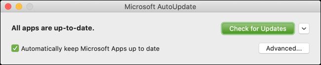 انقر فوق الزر التحقق من وجود تحديثات لبرنامج Outlook