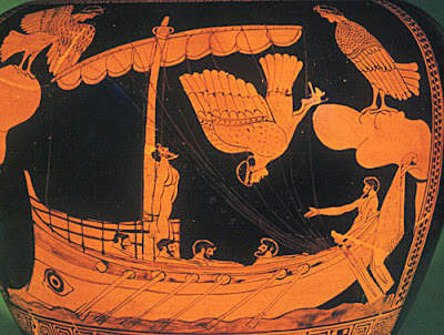 The Siren Vase, red-figured stamnos, 480BC-470BC, The Odyssey, greek mythology, the sirens, greek vase painting