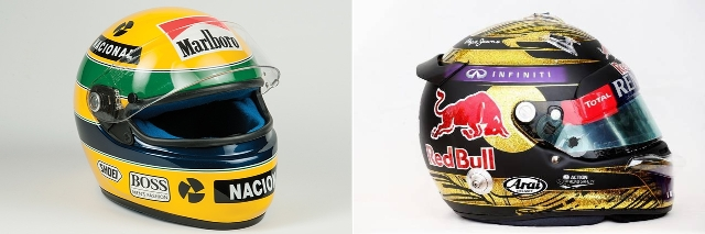 Aytron Senna kiri dan Sebastian Vettel kanan