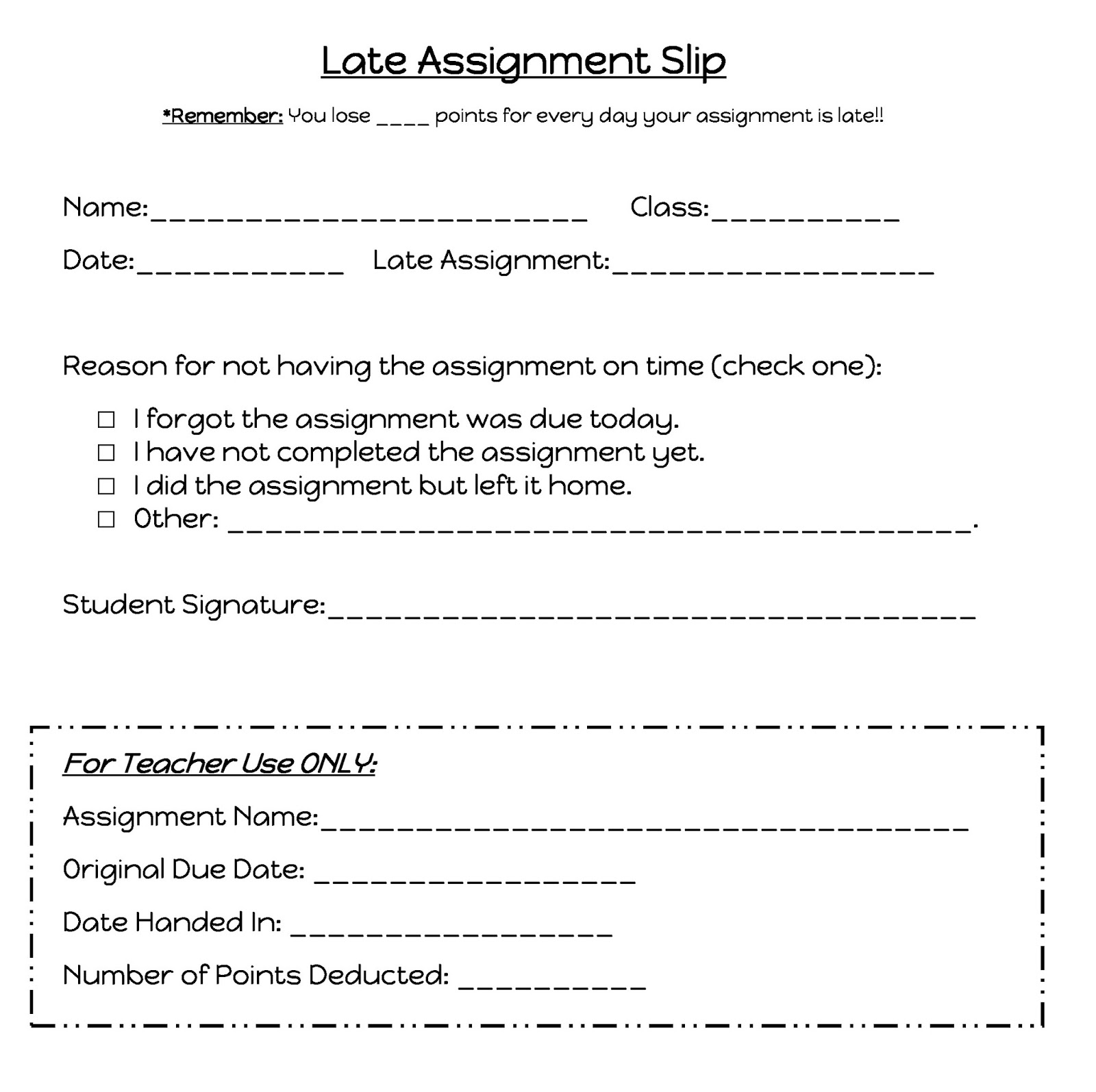 Missing Homework Pink Slip Template Lab