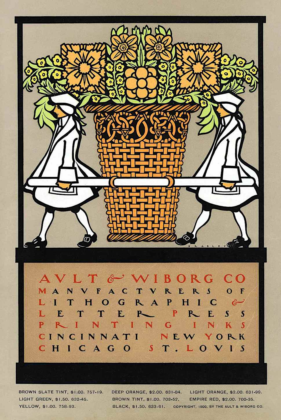 an old advertisement for printing inks illustrated by Will Bradley for Ault & Wiborg Co.