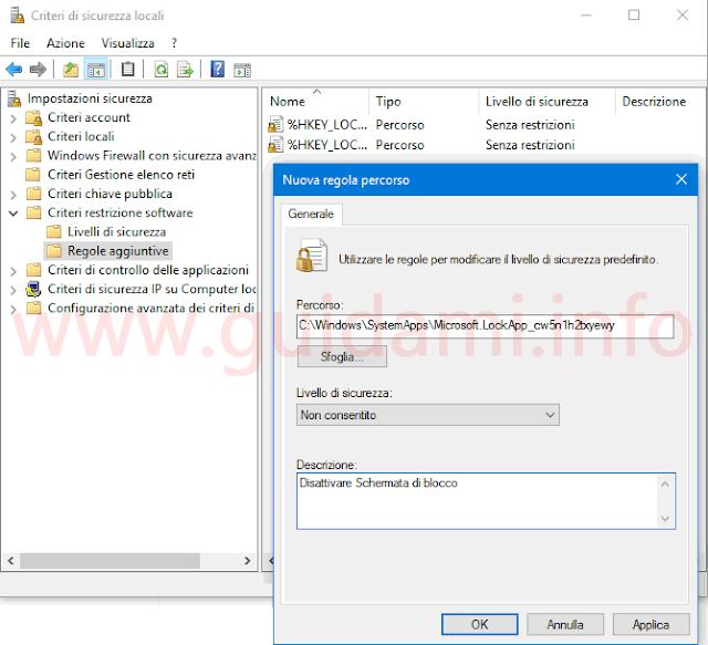 Disattivare schermata blocco Windows 10 Anniversary Update da Criteri sicurezza locali