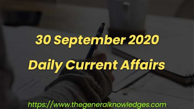 30 September 2020 Current Affairs Question and Answers in Hindi