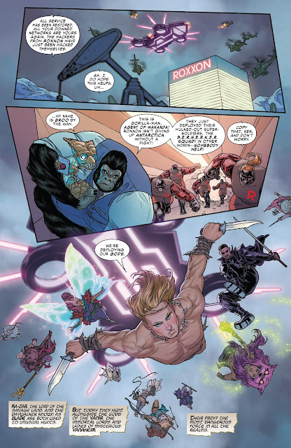 Broo and Gorilla man rescued by Blade, Ka-Zar and Vanir Gods after hacking Roxxon Corporation