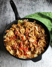 swiss diamond saute pan filled with cabbage roll casserole