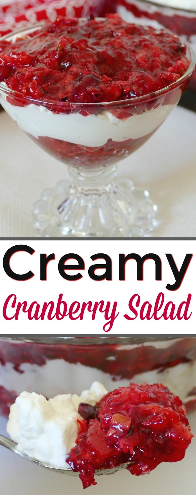 This delicious holiday salad is a tasty dessert for Thanksgiving or Christmas! In addition to the cranberries, this salad has apples, orange juice, pecans and any flavor red jello! We used raspberry and it was delicious! Homemade whipped cream and cream cheese is the perfect addition to the cranberries. This is always a hit at any gathering.