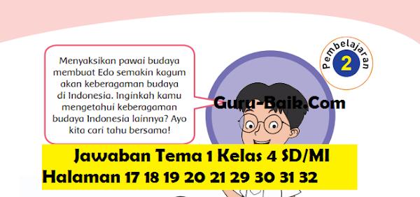 gambar Jawaban Tema 1 Kelas 4 SD/MI Halaman 17 18 19 20 21 29 30 31 32
