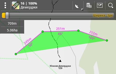 Программа Locus Map: вычисление длины и площади