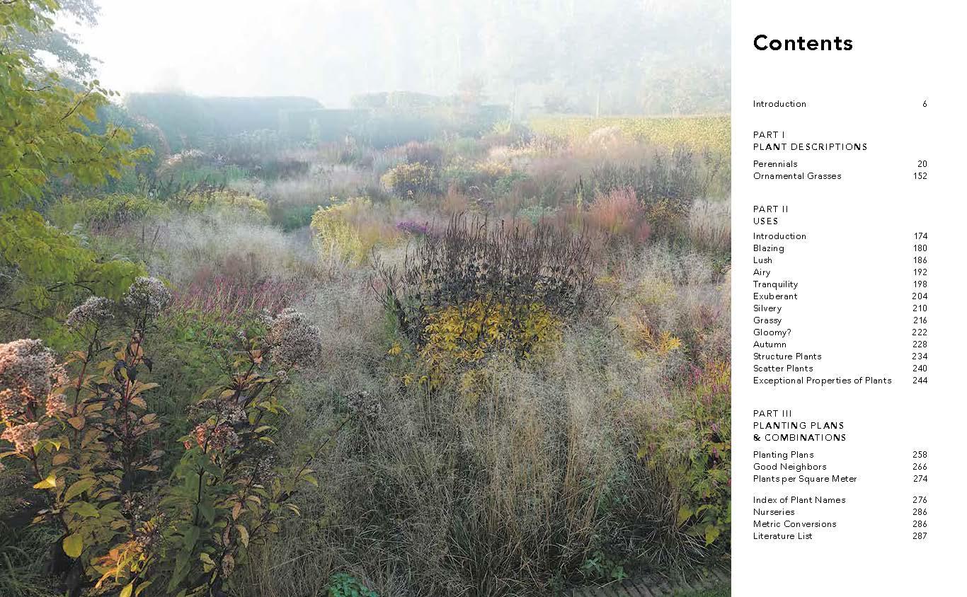Indice de temas del libro Planting the Natural Garden de Piet Oudolf y Henk Gerritsen