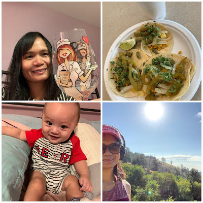 Nurse wine glass, grandson picture, nature hike, free tacos