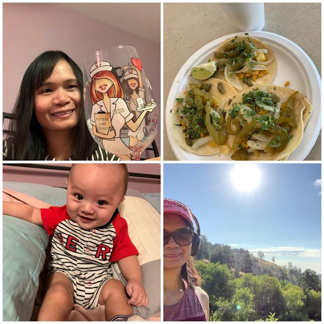 Nurse wine glass, grandson picture, nature hike, free tacos