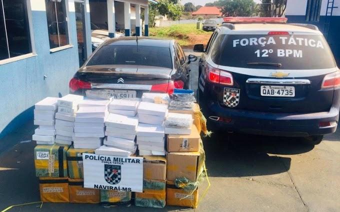 Naviraí-Polícia Militar apreende veículo carregado com produtos contrabandeados