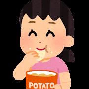ポテトチップを食べる人のイラスト(女の子)