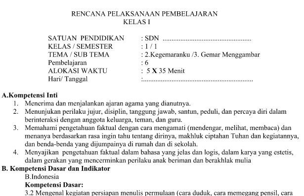 RPP Kurikulum 2013 Tema 2 Subtema 3 Pembelajaran 6 Update Revisi 2016