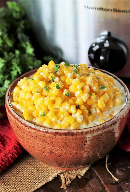 Serving Bowl of Slow Cooker Creamed Corn Image