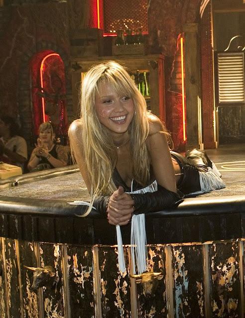 Jessica Alba en el rodaje de la escena de baile en Sin City