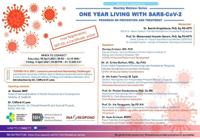 (FREE SKP IDI) Monthly Webinar Series: One Year Living with SARS -CoV-2, Progress on Prevention and Treatment