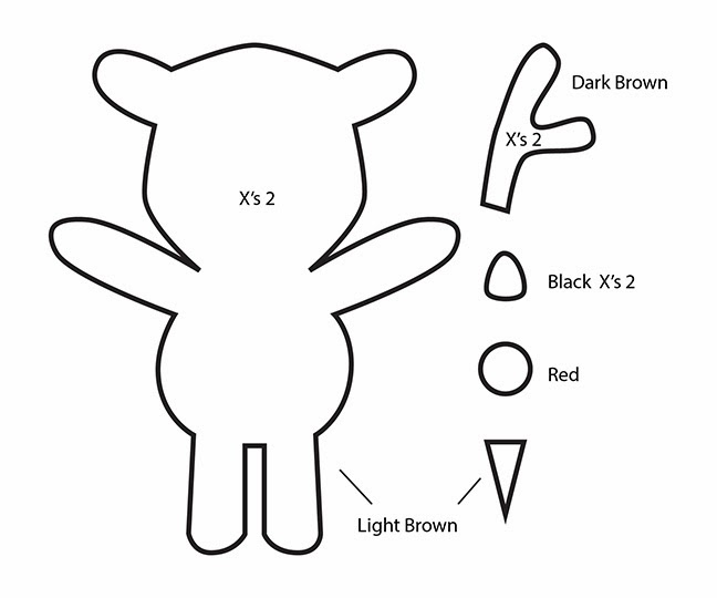 How to make a kawaii rudolph reindeer plushie tutorial for Template for reindeer antlers