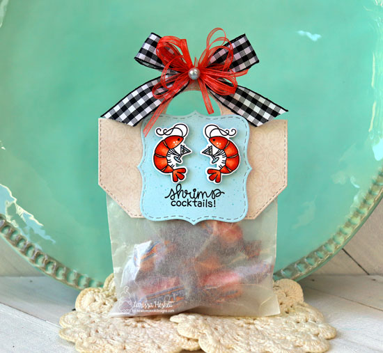 Shrimp Cocktails treat bag by Larissa Heskett | Shrimp Cocktails Stamp Set and Frames Squared Die Set by Newton's Nook Designs #newtonsnook #handmade