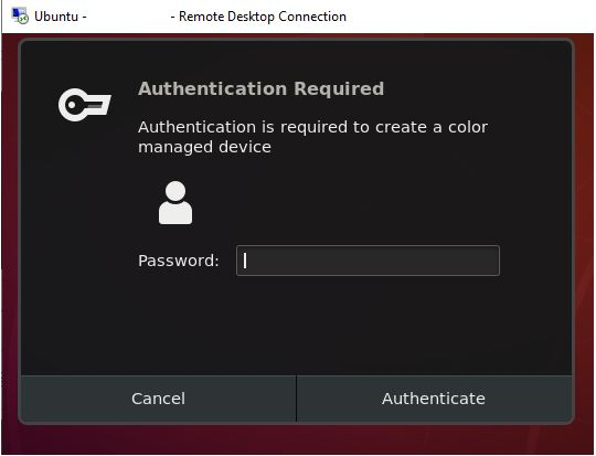 Authentication is required to create a color managed device in ubuntu