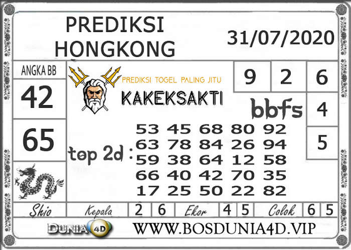 Kode syair Hongkong Jumat 31 Juli 2020 234