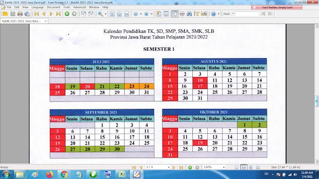Download Kalender Pendidikan Madrasah Tahun Pelajaran 2021/2022 Format Pdf Jawa Barat