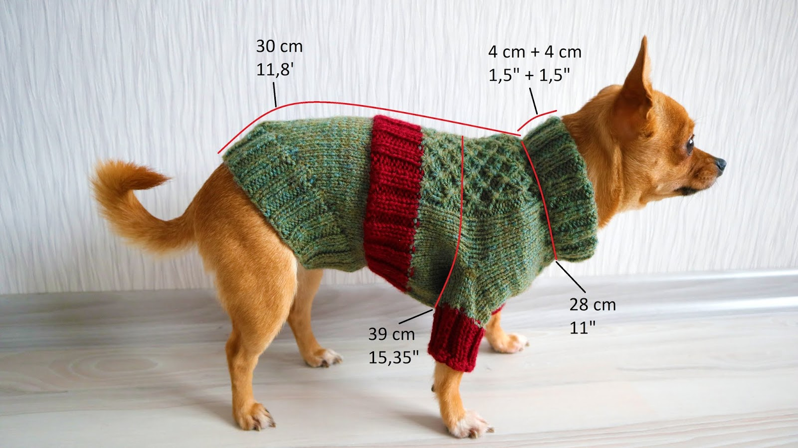 Dog Sweater Finished Size
