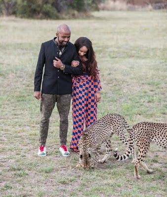 Banky W And Adesua Etomi Petting Cheetahs At Zebula Golf Estate In South Africa