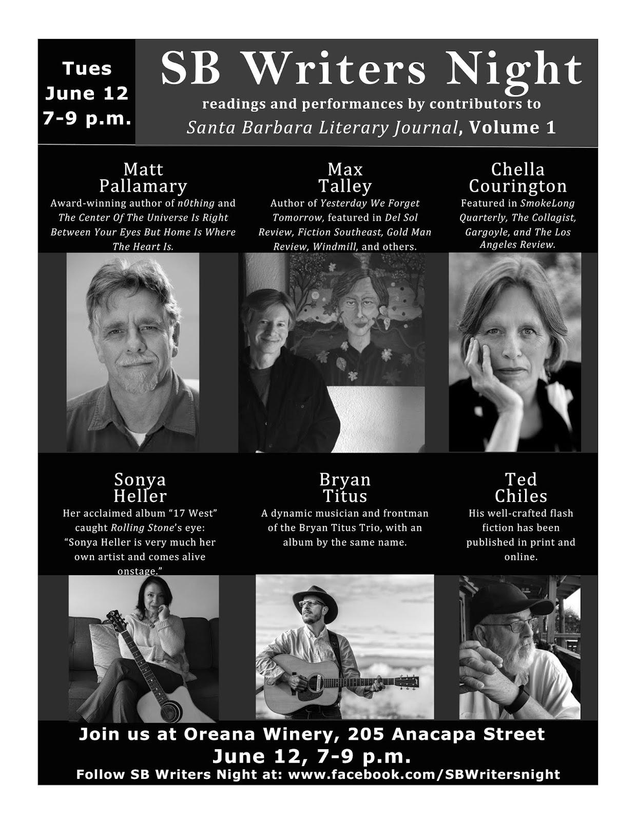 Santa Barbara Literary Journal: Upcoming Event! SB Writers
