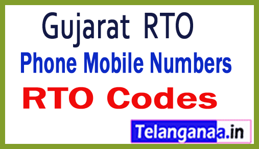 Gujarat GJ RTO Codes Phone Mobile Numbers and Pin Code
