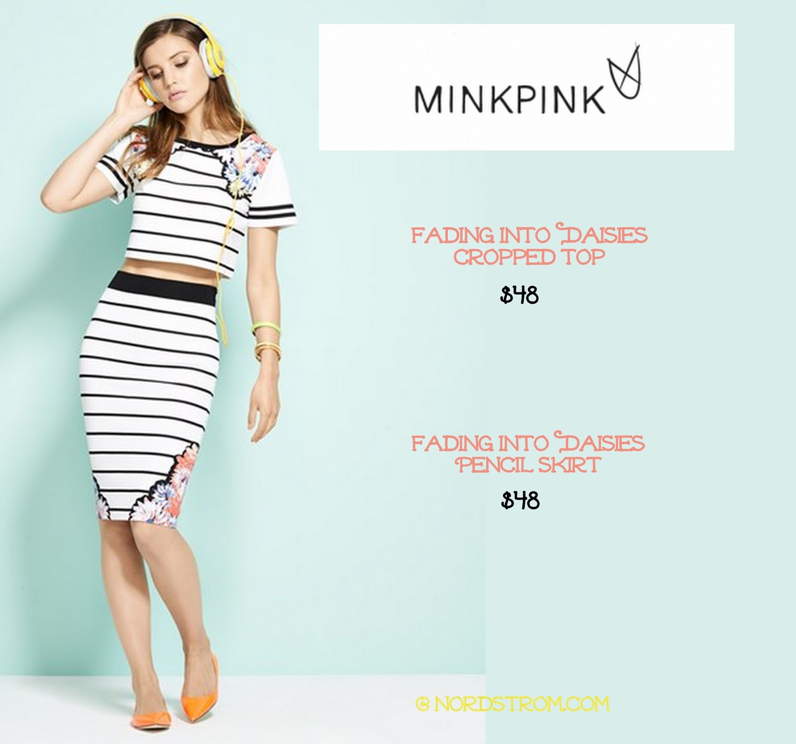 a5e7abe9b8c The Minkpink  Fading into Daisies  cropped striped and floral top and  matching skirt are both available at Nordstrom.com for  48 a piece.