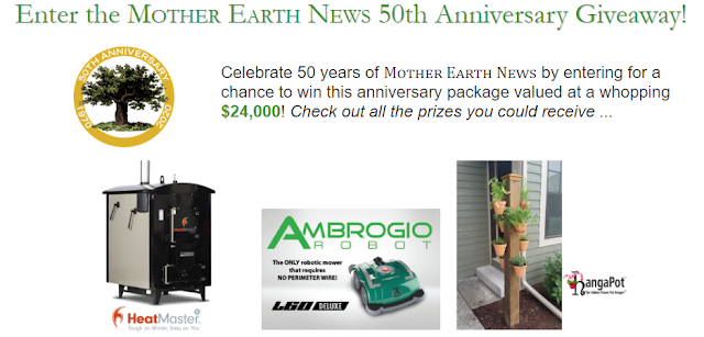 Mother Earth News is celebrating their FIFTIETH ANNIVERSARY by giving away a huge home and garden prize package worth almost $25,000!