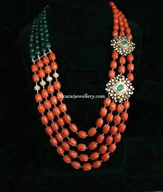 Coral Beads Set with Diamond Pendants