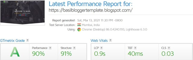 GT Metrix Score of Basil Blogger Template By PBT