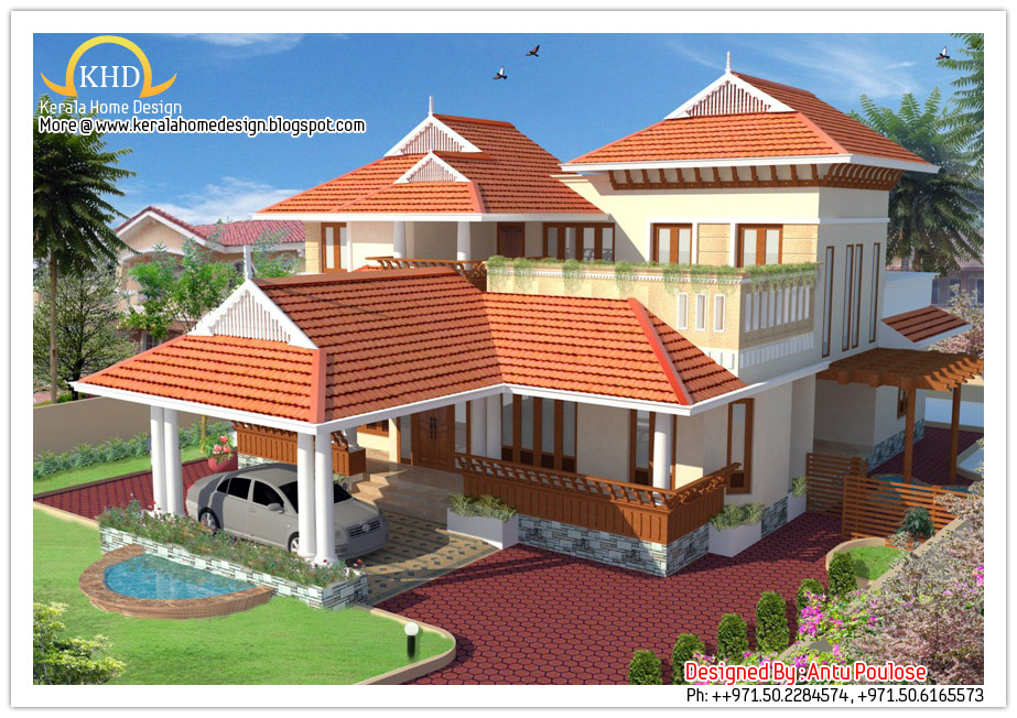 Beautiful sloping roof house elevation 2150 sq ft for Sloped roof house plans in india