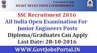 Staff Selection Commission Recruitment 2016 For Junior Engineers Posts Apply Online Here