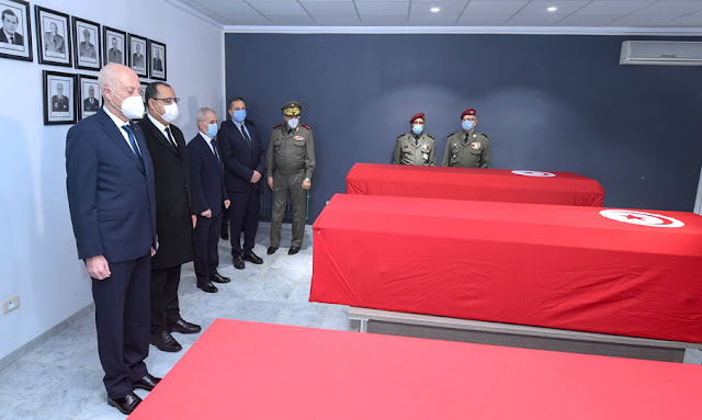 رئيس الجمهورية قيس سعيد يودع شهداء العملية الارهابية
