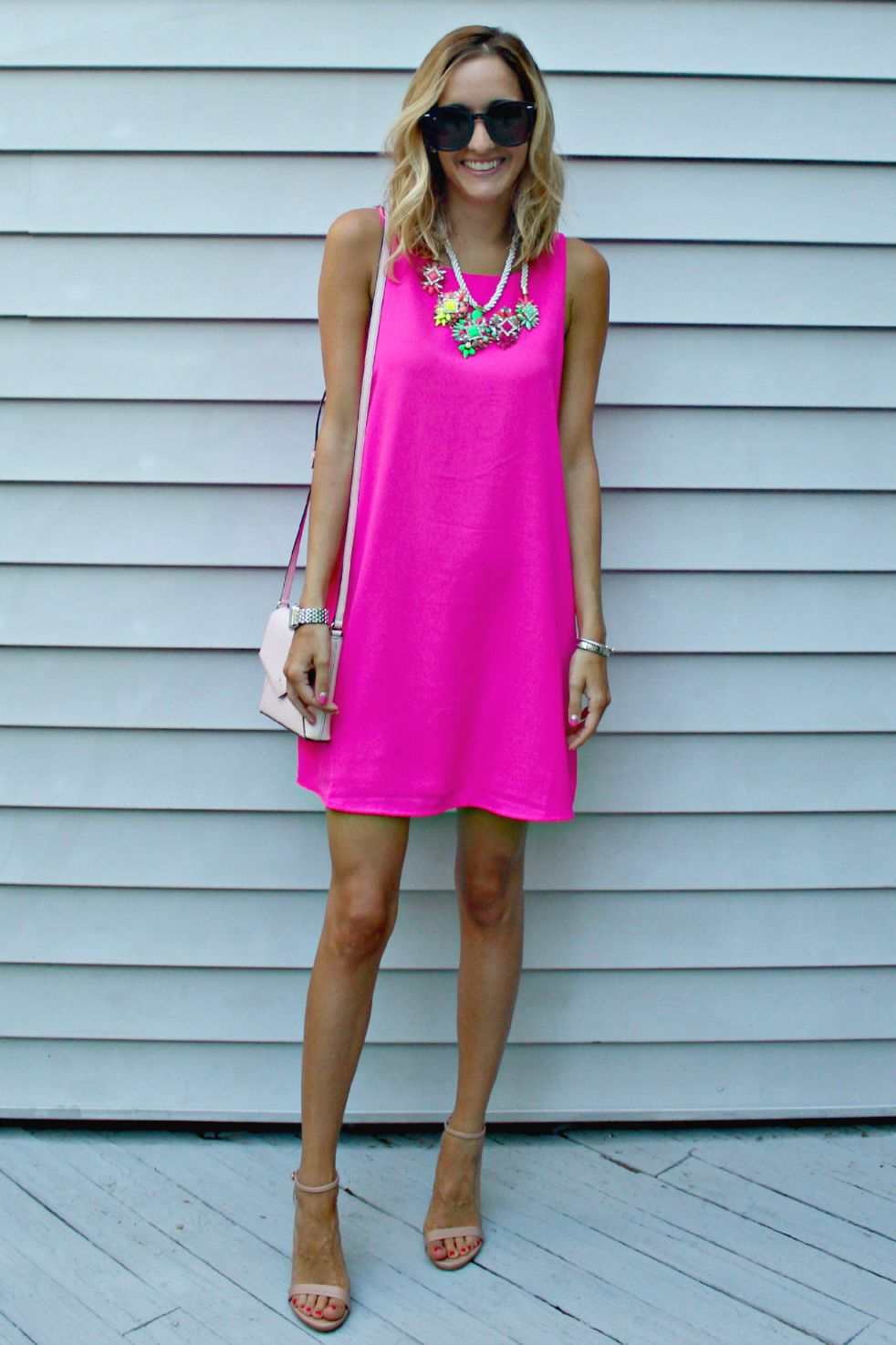 pink shift dress from zappos