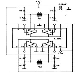 L293 Basic Bipolar Stepper Motor Driver Configuration Circuit
