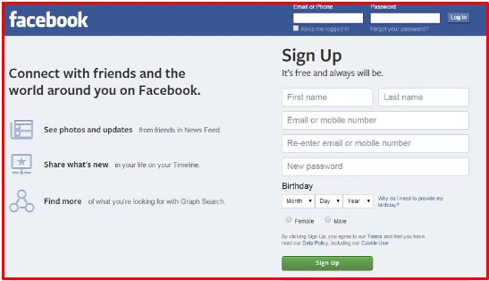 facebook login sign up homepage