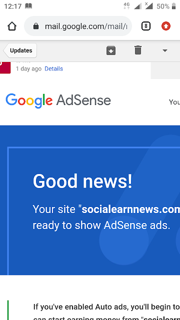 Adsense sent to email