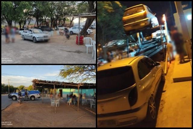 PM e Vigilância notificam bares e apreendem veículos pelo uso de som, em Guanambi