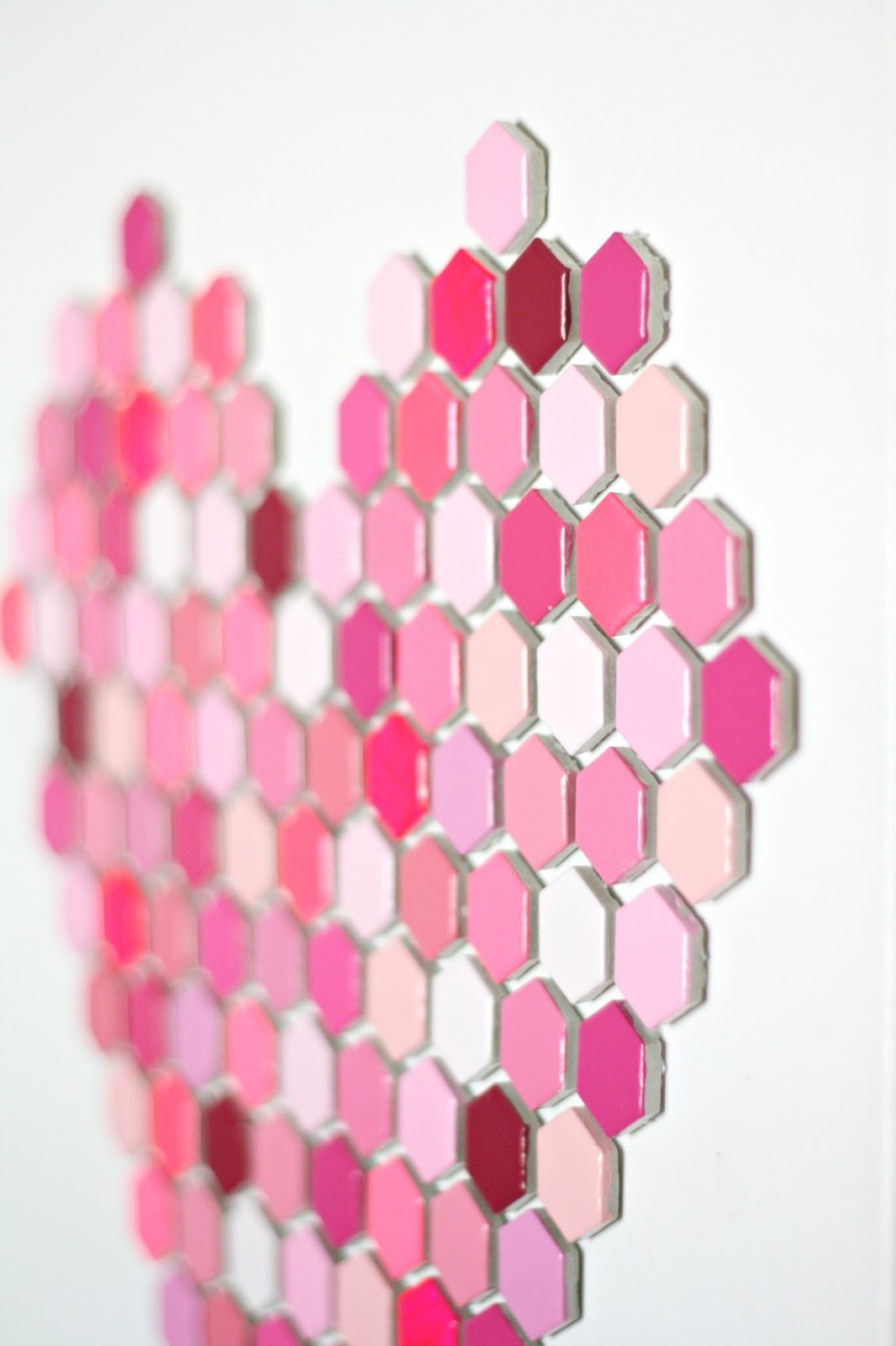 diy hexagon tile heart art 7