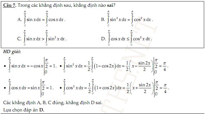 Hơn 700 câu trắc nghiệm tích phân nguyên hàm có đáp án dạng word