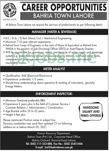 Latest Bahria Town Lahore Management Posts 2021 Ad1