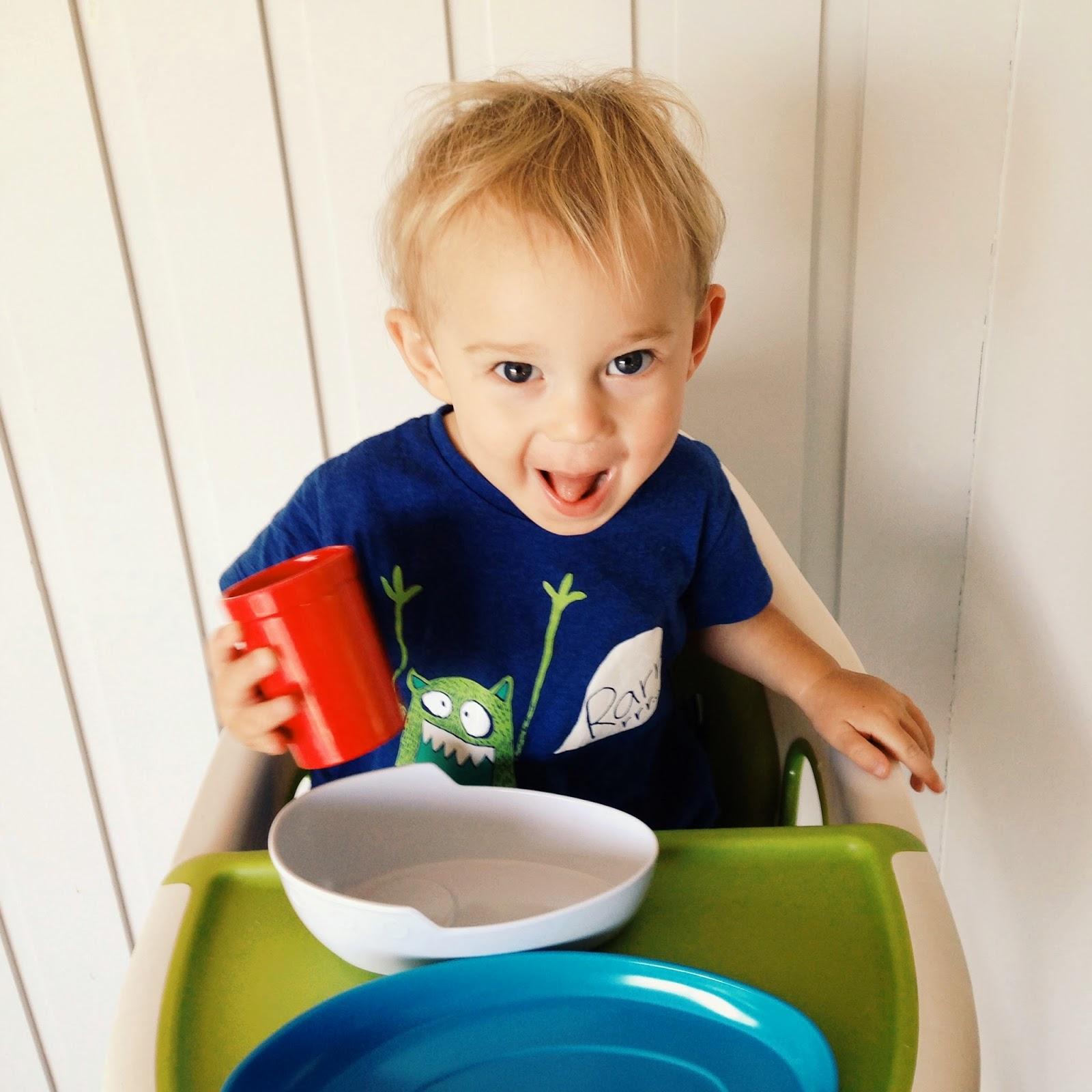 Max at breakfast time in Peter Alexander PJs