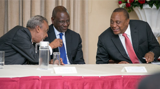 President Uhuru Kenyatta, Deputy President William Ruto and Senator Yusuf Hajj(from right to left). PHOTO | BNC