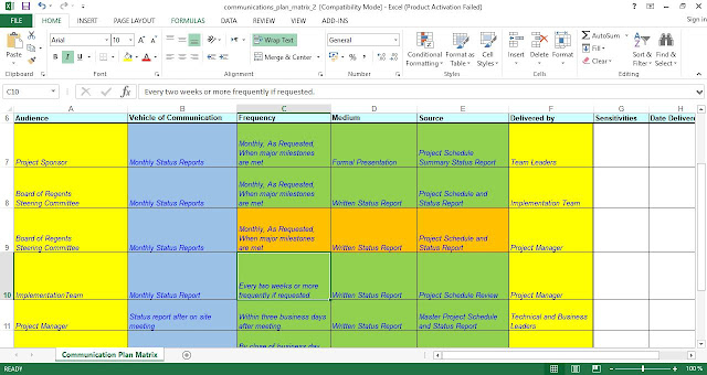 Project Communication Plan Template Excel Free